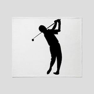 Golfer Silhouette Throw Blanket