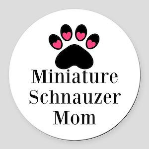 Miniature Schnauzer Mom Round Car Magnet