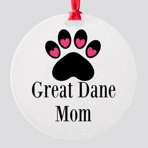 Great Dane Mom Paw Print Ornament