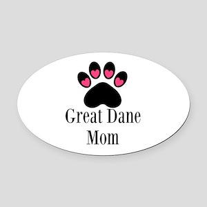 Great Dane Mom Paw Print Oval Car Magnet