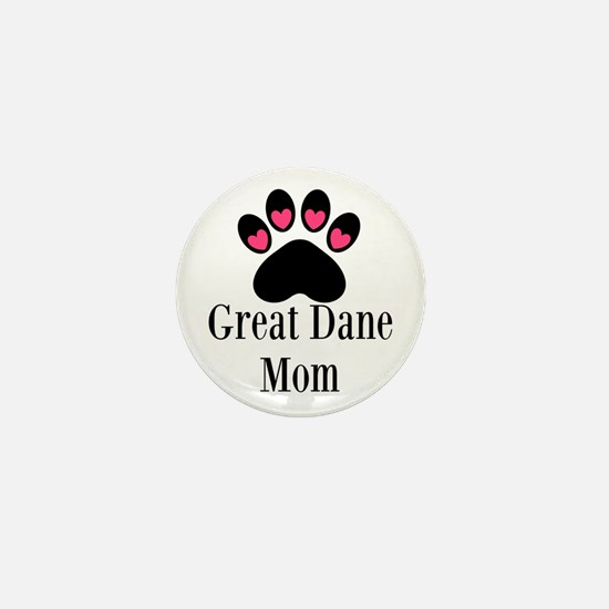 Great Dane Mom Paw Print Mini Button