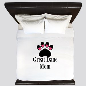 Great Dane Mom Paw Print King Duvet