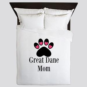 Great Dane Mom Paw Print Queen Duvet