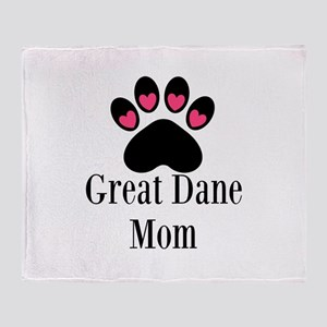 Great Dane Mom Paw Print Throw Blanket