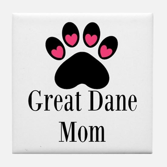 Great Dane Mom Paw Print Tile Coaster