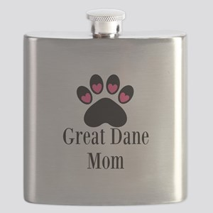 Great Dane Mom Paw Print Flask