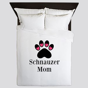Schnauzer Mom Paw Print Queen Duvet