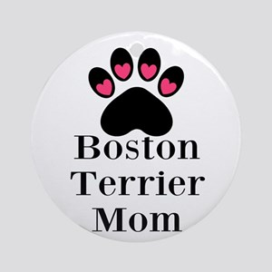 Boston Terrier Mom Ornament (Round)