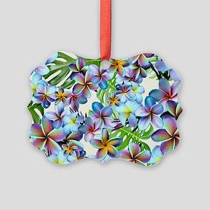Rainbow Plumeria Pattern Ornament