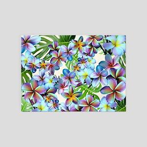 Rainbow Plumeria Pattern 5'x7'Area Rug