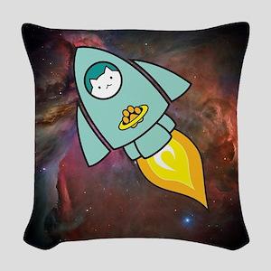 Fat Cat Rocketship Color Woven Throw Pillow