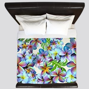 Rainbow Plumeria Pattern King Duvet