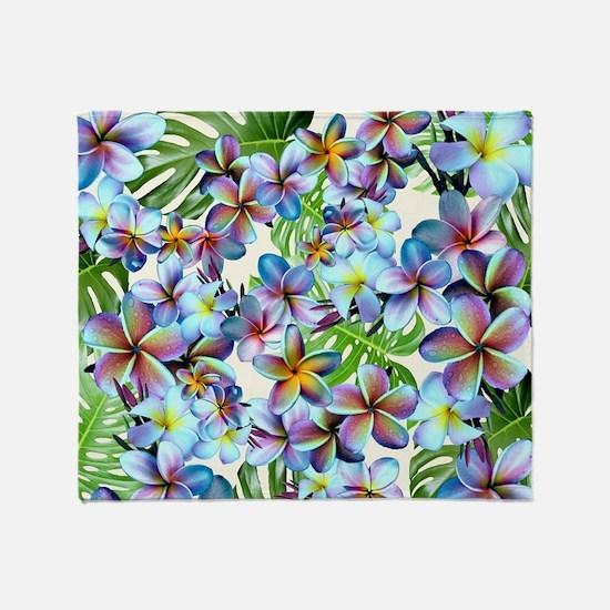 Rainbow Plumeria Pattern Throw Blanket