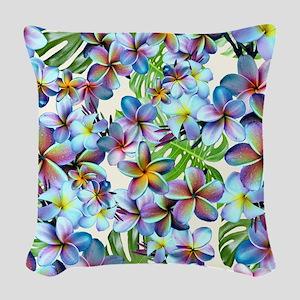Rainbow Plumeria Pattern Woven Throw Pillow