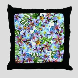 Rainbow Plumeria Pattern Throw Pillow