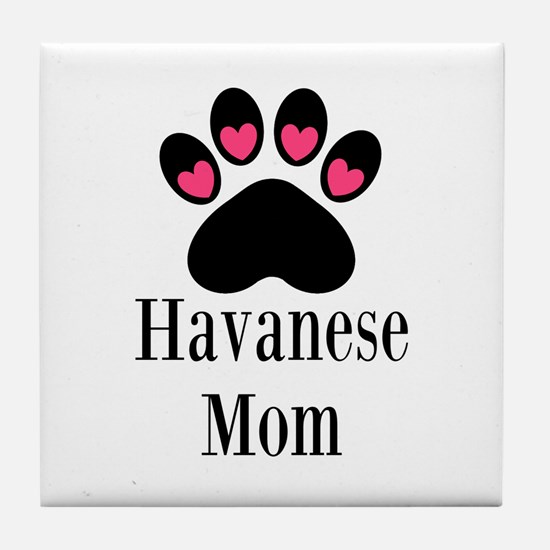 Havanese Mom Tile Coaster