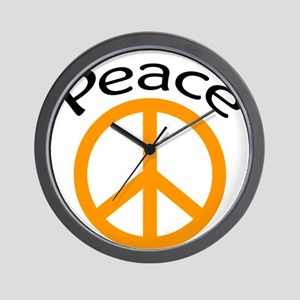 orange peace symbol and word Wall Clock