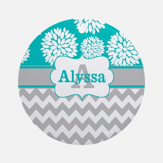 Gray Teal Chevron Blooms Personalized Ornament (Ro