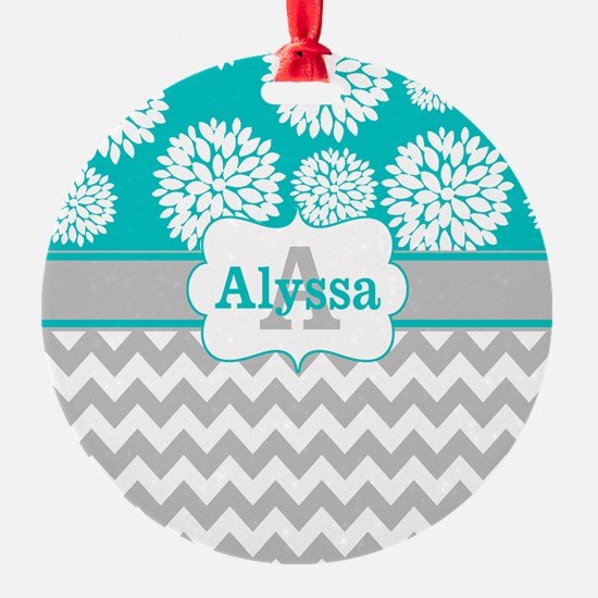 Gray Teal Chevron Blooms Personalized Ornament