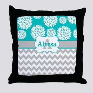 Gray Teal Chevron Blooms Personalized Throw Pillow