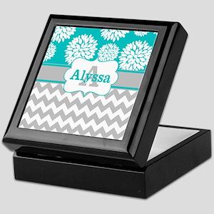 Gray Teal Chevron Blooms Personalized Keepsake Box