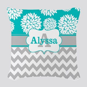 Gray Teal Chevron Blooms Personalized Woven Throw