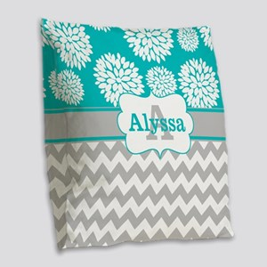 Gray Teal Chevron Blooms Personalized Burlap Throw
