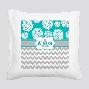 Gray Teal Chevron Blooms Personalized Square Canva