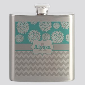 Gray Teal Chevron Blooms Personalized Flask