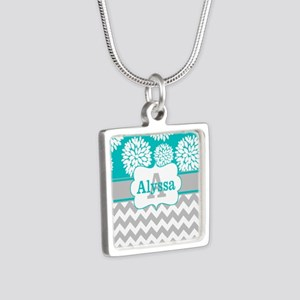 Gray Teal Chevron Blooms Personalized Necklaces