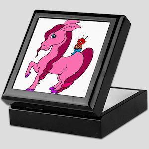 little alien on pink pony Keepsake Box