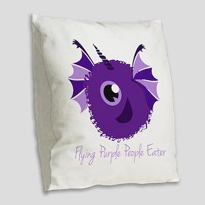 Flying Purple People Eater Burlap Throw Pillow