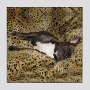 Leopard Bed Frenchie Tile Coaster