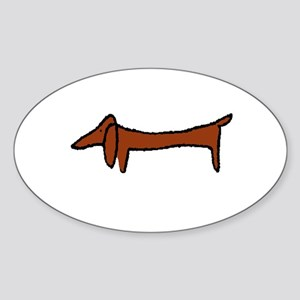 Weiner Dog Oval Sticker