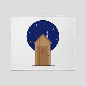 Nighttime Outhouse Throw Blanket