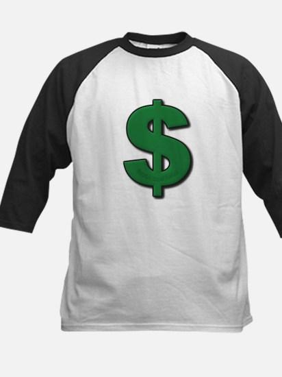 Green Dollar Sign Kids Baseball Jersey
