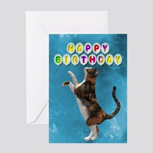 Birthday with Calico cat. Greeting Cards