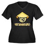 Vietnamegro Women's Plus Size V-Neck Dark T-Shirt