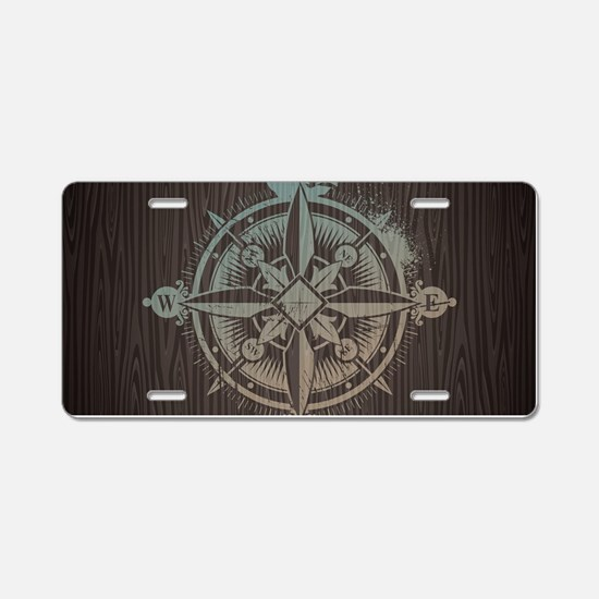 Nautical Compass Aluminum License Plate