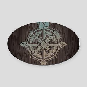 Nautical Compass Oval Car Magnet