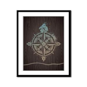 Nautical Compass Framed Panel Print