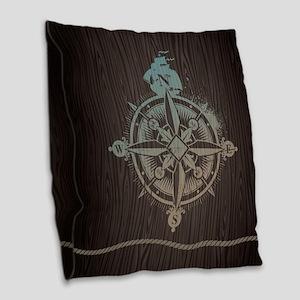 Nautical Compass Burlap Throw Pillow