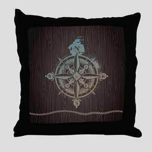 Nautical Compass Throw Pillow