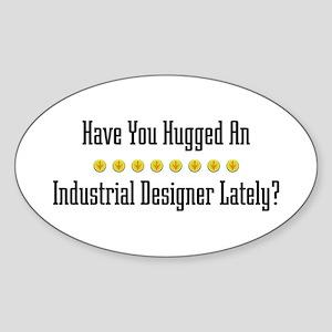 Hugged Industrial Designer Oval Sticker