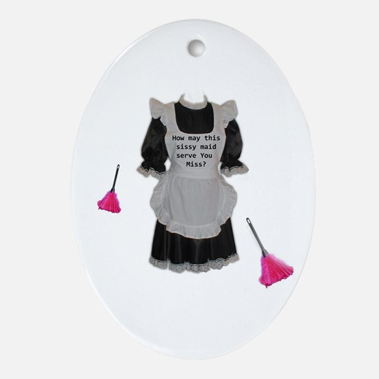 sissy maid Oval Ornament