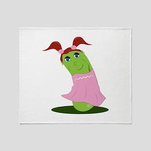 Girl Cucumber Throw Blanket