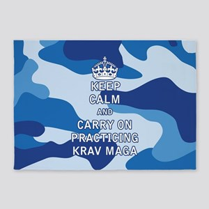 Keep Calm and Carry On Practicing Krav Maga 5'x7'A