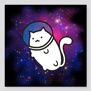"Fat Cat in Space Square Car Magnet 3"" x 3"""