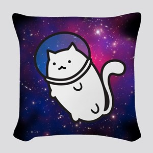 Fat Cat in Space Woven Throw Pillow
