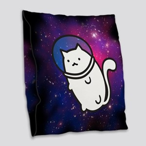 Fat Cat in Space Burlap Throw Pillow